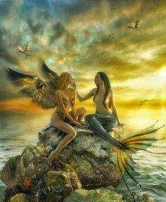Angel /mermaid, but with a fairy Fantasy Mermaids, Mermaids And Mermen, Magical Creatures, Sea Creatures, Elfen Fantasy, Mermaid Fairy, Mermaid On Rock, Dark Mermaid, Fantasy Kunst