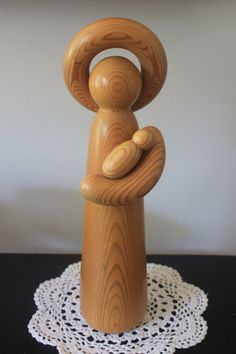 "Beautiful vintage wooden statue  ""Maria"" from ""Jouluyö"",  by Aarikka Finland"