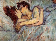 Henri de Toulouse-Lautrec French), Dans le lit, le baiser (In Bed, The Kiss). Toulouse-Lautrec captured the moment when two prostitutes share a moment of love with a tender kiss. Henri De Toulouse Lautrec, Tableaux Vivants, Romantic Paintings, Famous Artwork, Paintings Famous, Classic Paintings, Post Impressionism, Impressionist Art, Art History