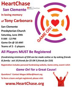 HeartChase San Clemente will commemorate the life of the late Tony Carbonara.