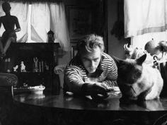 A man and his cat - James Dean