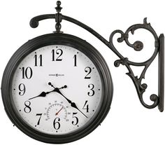 Luis Two Sided Clock Antique Iron : Howard Miller Black Restoration Outdoor Clock Outdoor Wall Clocks, Outdoor Walls, Indoor Outdoor, Outdoor Living, Outdoor Ideas, Tabletop Clocks, Outdoor Art, Outdoor Spaces, Outdoor Decor