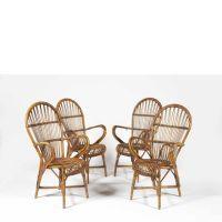 Audoux-MINET GOLF-JUAN VERS 1950 SUITE DE QUATRE fauteuils DE JARDIN