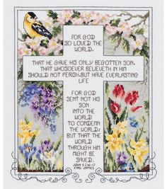 "John 3:16-17 Counted Cross Stitch Kit-10.25""X12.25"" 14 Count at Joann.com"