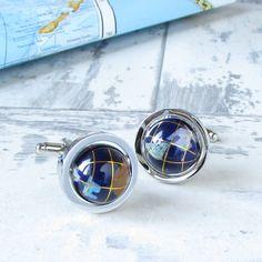 'Small World' Gemstone Globe Cufflinks