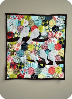 I think this is about the size I could do for a hexagon quilt. Plus, I love the colors & birdies.