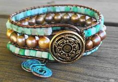 Freshwater Pearl and Sleeping Beauty Turquoise Leather Wrap Bracelet | GemOnAWire - Jewelry on ArtFire