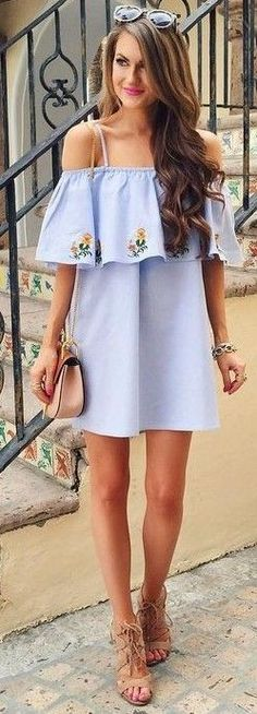 #summer #preppy #outfits | Embroidered Detail Bardot Ruffle Dress
