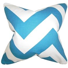 Bring a hip look to your interiors with this contemporary accent pillow. This throw pillow features a zigzag pattern in shades of blue and white. Decorate this statement piece to your living room or bedroom. Made of 100% soft cotton fabric and crafted in the USA. $55.00 #zigzag #pillows #homedecor #interiorstyling #tosspillow #blueandwhite