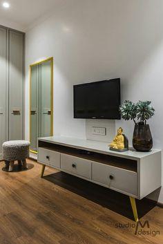 A simple TV unit setup designed by Studio M. unit retro TV Unit Design Ideas From Real Homes Bedroom Tv Unit Design, Tv Unit Bedroom, Tv Unit Furniture Design, Tv Unit Interior Design, Living Room Tv Unit Designs, Tv Wall Design, Master Bedroom, Simple Tv Unit Design, Tv Showcase Design