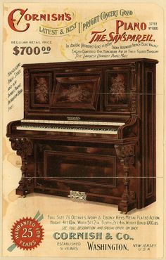 Vintage advertisement of a player piano - Cornish Piano & Organ Co etablished in 1897