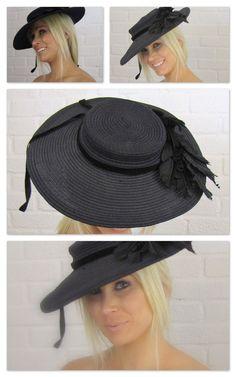 Vintage Black Straw Hat with Black Feathers and Bird Black Velvet Ribbon 1940's. via Etsy.