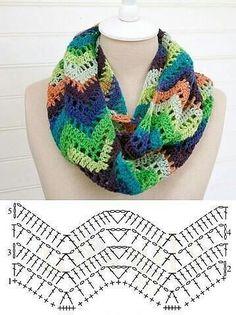 Crochet Patterns Cowl The photo Poncho Au Crochet, Crochet Shawl Diagram, Poncho Knitting Patterns, Crochet Ripple, Crochet Stitches Patterns, Crochet Chart, Crochet Scarves, Crochet Clothes, Crochet Lace