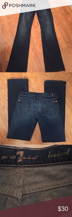 "7 for all mankind jeans 7 for all mankind bootcut jeans, inseam 32 1/2"" rise 7"" worn a few times in great condition 7 For All Mankind Jeans Boot Cut"