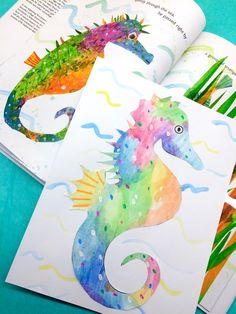 Eric Carle-Inspired Watercolor Seahorse Collage for Kids
