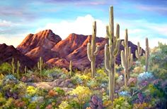 Desert sunsets,Southwest Paintings, Arizona Landscapes by Brenda Bowers Landscape Quilts, Landscape Art, Landscape Paintings, Desert Landscape, Desert Art, Desert Sunset, Sonora Desert, Cactus Painting, Cactus Art