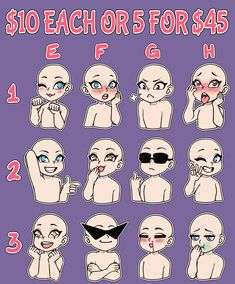 Emote Commissions (OPEN) by LunaOfWater What's The Quickest and Easiest Way toMake Serious Money Online? Art Drawings Sketches, Cute Drawings, Drawing Face Expressions, Expression Sheet, Drawing Body Poses, Anime Poses Reference, Art Poses, Drawing Base, Drawing Challenge