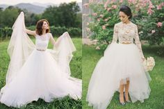 Bridal Separates? 22 Brides Who Look Gorgeous in Their Two-Piece Wedding Dresses!