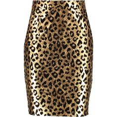 £: Milly Metallic leopard-print leather skirt