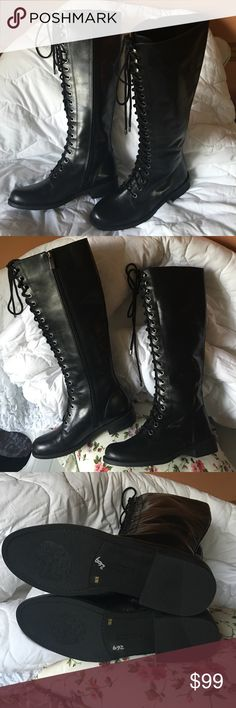 Vince Camuto Tall black LACE  UP boots size 6 New without tags and black tall Lace up boots with side zippers.  Size 6 medium Vince Camuto Shoes Combat & Moto Boots