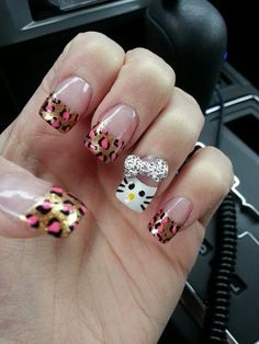 laopard hello kitty nail