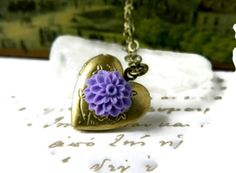 Tiny Locket Necklace Heart Locket Victorian Purple by MsBsDesigns, $28.00