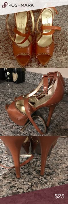 Jessica Simpson brown heels Jessica Simpson brown strappy heels size 7. Good condition! Worn 1 time. Jessica Simpson Shoes Heels
