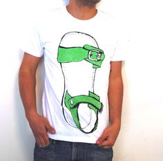 white t shirt for men giant biblical sandal by NoonTshirts on Etsy, $33.00