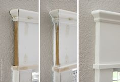 the magic of using caulk…….here's the before, after adding caulk, and then after the final paint job.  See?  It's magic!  You can't even tel...