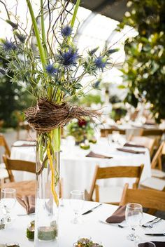 rustic centerpiece with thistle, Flowers,  Reception,  Decor