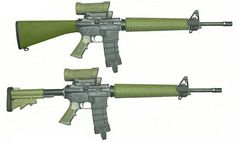 Diemaco C7A1 rifle (top) and upgraded C7A2 rifle (bottom), both fitted with Elcan optical sights Canada
