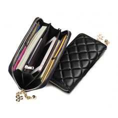 Universal PU Leather Clover Ornament Classic Diamond Lattice Phone Wallet for Phone Under 6.0-inch