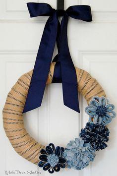 Denim and Burlap Wreath Front Door Wreath by WhiteDoorStudios