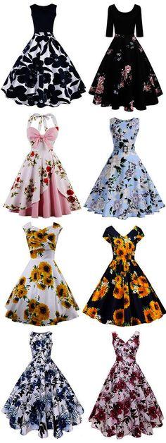 New vintage fashion women inspiration dresses Ideas Vintage Fashion 1950s, Vintage 1950s Dresses, Vestidos Vintage, Mode Vintage, Vintage Outfits, Retro Dress, Vintage Clothing, Trendy Dresses, Cute Dresses