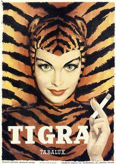 Tigra - Affiche - Ancienne - Cigarettes cigarettes <3 leopard <3