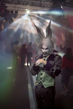 "HHN 18, Universal Studios Florida    The White Rabbit grins menacingly in anticipation of his next unfortunate victim, in Halloween Horror Nights 18's ""Asylum in Wonderland"" scarezone.    Photo by John Talmadge Clark."
