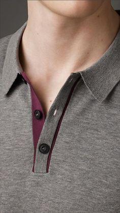 b0ce883586544 Contrast Placket Fine Knit Polo Shirt