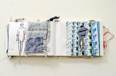 Daphne van den Heuvel - fashion knits design sketchbook with fabric sampling