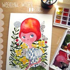 Watercolor Girl with Flowers in Spring by Helen Dardik