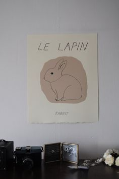Rabbit print by Sleepy Fawn. Would be great in kids room