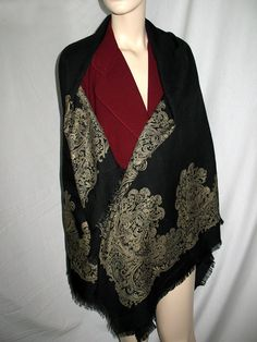 Vintage Wool Challis Shawl by NaughtNew on Etsy, $29.00