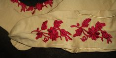 Victorian Hand Embroidery Cotton Stockings Balbriggan Irish Wedding Hosiery - The Gatherings Antique Vintage