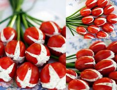 Bocadillos tomates rellenos e queso