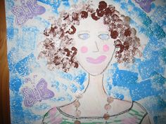 Children create portraits by printmaking with found objects.