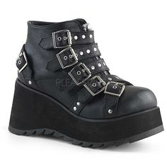 d897bb0bd The fun and funky Demonia Scene 30 Platform Wedge Bootie features multiple  studded buckle straps over a front zip closure with skull zipper head.