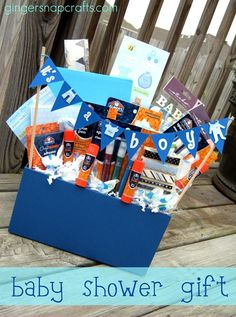 A super baby shower gift basket filled with Elmer's scrapbooking supplies to document all the first with a new baby! Baby Boy Gift Baskets, Baby Boy Gifts, Gifts For Boys, Baby Shower Gifts, Theme Baskets, Raffle Baskets, Cute Gifts, Diy Gifts, Handmade Gifts