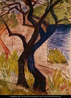 Otto Mueller Paintings | Trees before a Bridge - Otto Mueller - WikiGallery.org, the largest ...