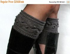 Dark Gray Boot Cuff Boot Toppers Leg Warmers Boot by Initasworks