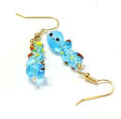 Blue Caterpillar Glass Bead Earring - Emerging Butterfly Jewelry by SKWOriginalsbySummer on Etsy