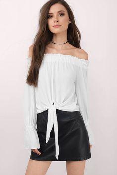 b991bd8e3238f9 Deserie Off Shoulder Blouse at Tobi.com  shoptobi Fall Fashion Skirts